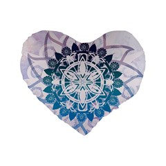 Mandalas Symmetry Meditation Round Standard 16  Premium Flano Heart Shape Cushions by Amaryn4rt