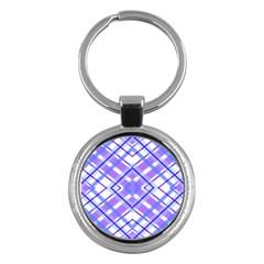 Geometric Plaid Pale Purple Blue Key Chains (round)  by Amaryn4rt
