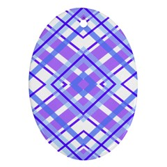 Geometric Plaid Pale Purple Blue Oval Ornament (two Sides) by Amaryn4rt