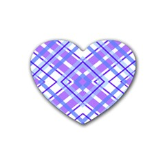 Geometric Plaid Pale Purple Blue Heart Coaster (4 Pack)  by Amaryn4rt