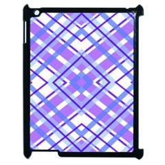 Geometric Plaid Pale Purple Blue Apple Ipad 2 Case (black)