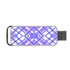 Geometric Plaid Pale Purple Blue Portable Usb Flash (one Side) by Amaryn4rt