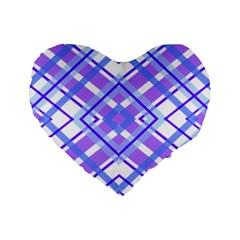 Geometric Plaid Pale Purple Blue Standard 16  Premium Heart Shape Cushions