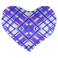 Geometric Plaid Pale Purple Blue Large 19  Premium Heart Shape Cushions by Amaryn4rt