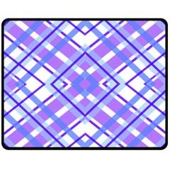 Geometric Plaid Pale Purple Blue Double Sided Fleece Blanket (medium)  by Amaryn4rt