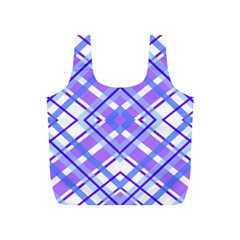 Geometric Plaid Pale Purple Blue Full Print Recycle Bags (s)  by Amaryn4rt