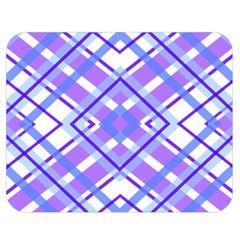 Geometric Plaid Pale Purple Blue Double Sided Flano Blanket (medium)  by Amaryn4rt