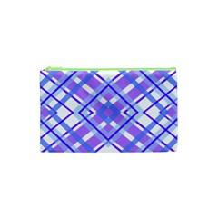 Geometric Plaid Pale Purple Blue Cosmetic Bag (xs) by Amaryn4rt