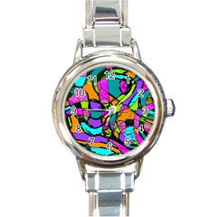 Abstract Art Squiggly Loops Multicolored Round Italian Charm Watch by EDDArt