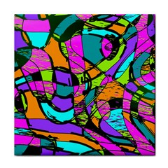 Abstract Art Squiggly Loops Multicolored Tile Coasters by EDDArt
