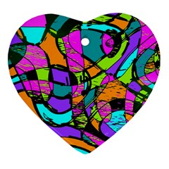 Abstract Art Squiggly Loops Multicolored Ornament (heart) by EDDArt