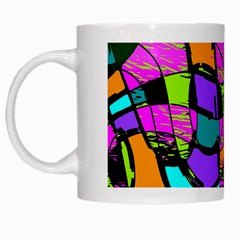 Abstract Art Squiggly Loops Multicolored White Mugs by EDDArt
