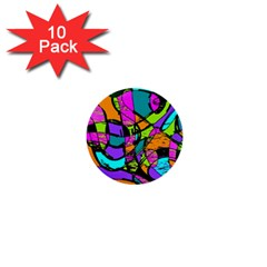 Abstract Art Squiggly Loops Multicolored 1  Mini Buttons (10 Pack)  by EDDArt