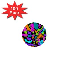 Abstract Art Squiggly Loops Multicolored 1  Mini Buttons (100 Pack)  by EDDArt