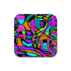 Abstract Art Squiggly Loops Multicolored Rubber Coaster (square)  by EDDArt