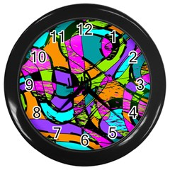 Abstract Art Squiggly Loops Multicolored Wall Clocks (black) by EDDArt
