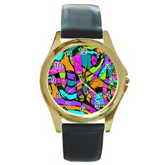 Abstract Art Squiggly Loops Multicolored Round Gold Metal Watch by EDDArt