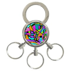 Abstract Art Squiggly Loops Multicolored 3 Ring Key Chains by EDDArt
