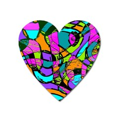 Abstract Art Squiggly Loops Multicolored Heart Magnet by EDDArt