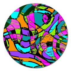 Abstract Art Squiggly Loops Multicolored Magnet 5  (round) by EDDArt