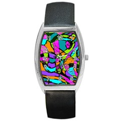 Abstract Art Squiggly Loops Multicolored Barrel Style Metal Watch by EDDArt