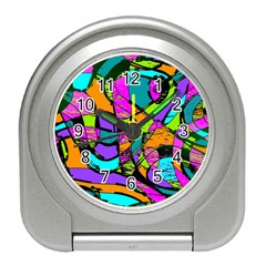 Abstract Art Squiggly Loops Multicolored Travel Alarm Clocks by EDDArt