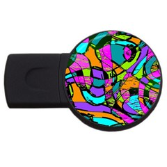 Abstract Art Squiggly Loops Multicolored Usb Flash Drive Round (4 Gb) by EDDArt