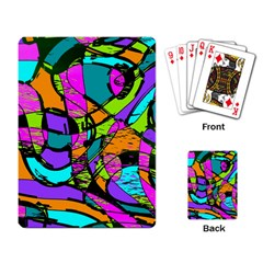 Abstract Art Squiggly Loops Multicolored Playing Card by EDDArt