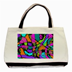 Abstract Art Squiggly Loops Multicolored Basic Tote Bag by EDDArt