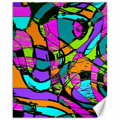 Abstract Art Squiggly Loops Multicolored Canvas 16  X 20   by EDDArt