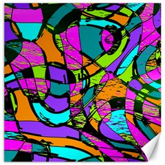 Abstract Art Squiggly Loops Multicolored Canvas 20  X 20   by EDDArt