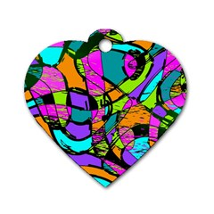 Abstract Art Squiggly Loops Multicolored Dog Tag Heart (one Side) by EDDArt