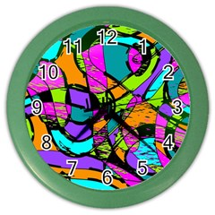 Abstract Art Squiggly Loops Multicolored Color Wall Clocks by EDDArt