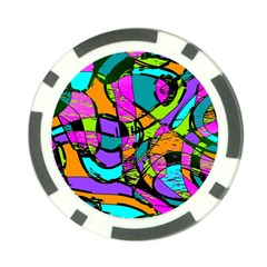 Abstract Art Squiggly Loops Multicolored Poker Chip Card Guard by EDDArt