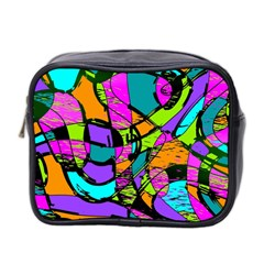 Abstract Art Squiggly Loops Multicolored Mini Toiletries Bag 2 Side by EDDArt