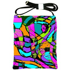 Abstract Art Squiggly Loops Multicolored Shoulder Sling Bags by EDDArt
