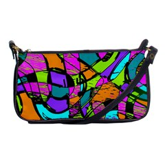 Abstract Art Squiggly Loops Multicolored Shoulder Clutch Bags by EDDArt