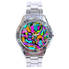 Abstract Art Squiggly Loops Multicolored Stainless Steel Analogue Watch by EDDArt
