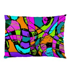 Abstract Art Squiggly Loops Multicolored Pillow Case (two Sides) by EDDArt