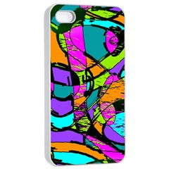 Abstract Art Squiggly Loops Multicolored Apple Iphone 4/4s Seamless Case (white) by EDDArt
