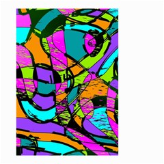 Abstract Art Squiggly Loops Multicolored Small Garden Flag (two Sides) by EDDArt