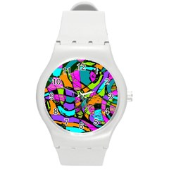 Abstract Art Squiggly Loops Multicolored Round Plastic Sport Watch (m) by EDDArt