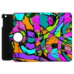 Abstract Art Squiggly Loops Multicolored Apple Ipad Mini Flip 360 Case by EDDArt
