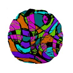 Abstract Art Squiggly Loops Multicolored Standard 15  Premium Round Cushions by EDDArt