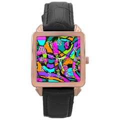 Abstract Art Squiggly Loops Multicolored Rose Gold Leather Watch  by EDDArt