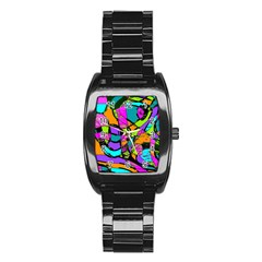 Abstract Art Squiggly Loops Multicolored Stainless Steel Barrel Watch by EDDArt