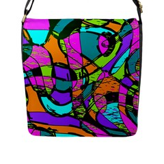 Abstract Art Squiggly Loops Multicolored Flap Messenger Bag (l)  by EDDArt