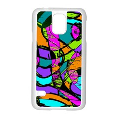 Abstract Art Squiggly Loops Multicolored Samsung Galaxy S5 Case (white) by EDDArt
