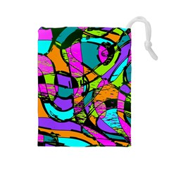 Abstract Art Squiggly Loops Multicolored Drawstring Pouches (large)  by EDDArt