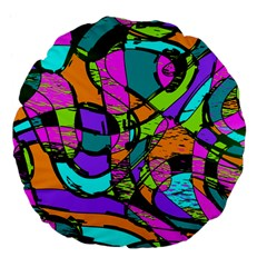 Abstract Art Squiggly Loops Multicolored Large 18  Premium Flano Round Cushions by EDDArt